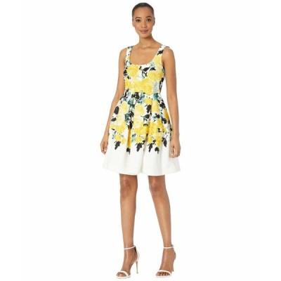 テイラー ワンピース トップス レディース Sleeveless Floral Fit-and-Flare Scuba Dress Ivory/Gold