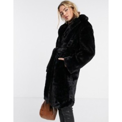 ニュールック レディース コート アウター New Look longline belted faux fur coat in black Black