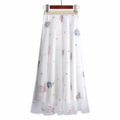 花 柄 刺繍 シースルー チュール スカート レディース 春 夏 ロング 丈 オルチャン ファッション 大人 の 可愛い ガーリー ウエストゴム