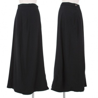 【SALE】イッセイミヤケISSEY MIYAKE レーヨンウール切替デザインスカート 黒M 【レディース】