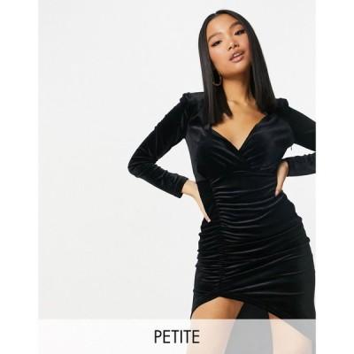 ナーナー NaaNaa Petite レディース ボディコンドレス タイト ワンピース・ドレス plunge bodycon velvet dress in black ブラック