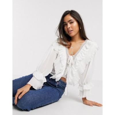 ヤス シャツ ブラウス レディース Y.A.S blouse with deep v neck and ruffle detail in white エイソス ASOS ホワイト 白