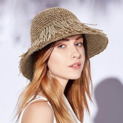 細編みラフィアHAT帽子レディース夏夏用つば広UVUV対策麦わら折りたたみUVカット