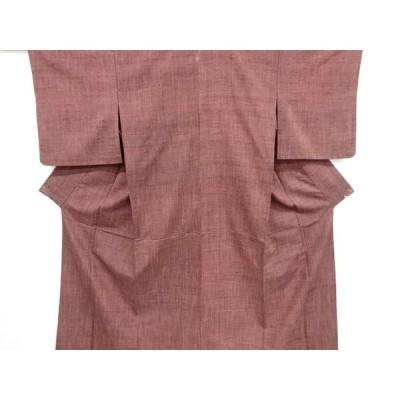 宗sou 一つ紋手織り真綿紬単衣着物【リサイクル】【着】