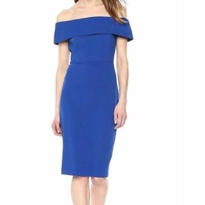 Calvin Klein カルバンクライン ファッション ドレス Calvin Klein Blue Womens Size 2 Off Shoulder Seamed Sheath Dress