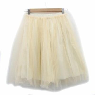 【中古】未使用品 トゥデイフル TODAYFUL スカート チュール フレア ひざ丈 F ベージュ /MS18 レディース