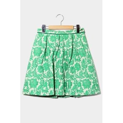 【中古】LADY LUCK LUCA レディラックルカ ボタニカル ジャガード フレア スカート 38 GREEN グリーン
