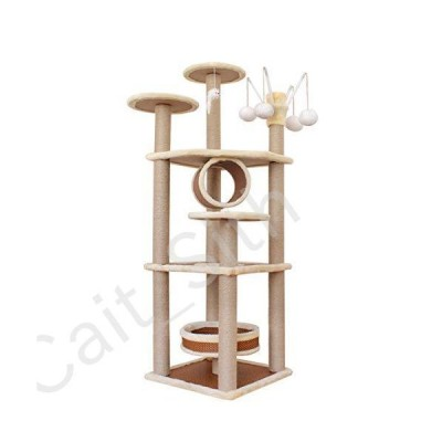 HongTeng-Cat Tree Tower 55 Inch Cat Tree Stand House Furniture with Plush Perch and Sisal Post, Kittens Play Activity Center[並行輸入品