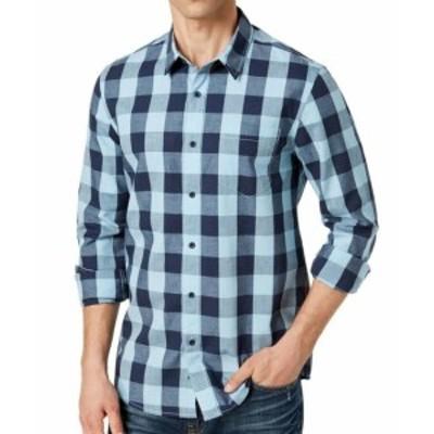 American  ファッション アウター American Rag NEW Blue Mens Size 2XL Check Print Button Down Shirt