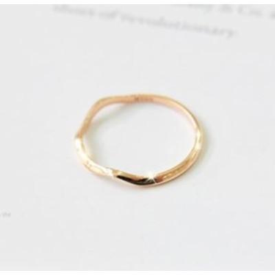 レディース アクセサリー 指輪 デザインリング 波デザイン シンプルリング (約10号相当) カラー:2タイプ