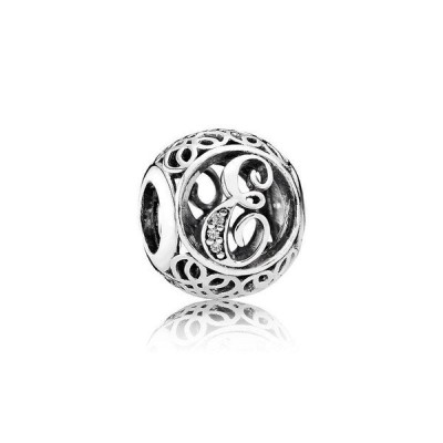 チャーム チャームブレスレット パンドラ Authentic Pandora Charm Sterling Silver 791849CZ Vintage Letter E Clear CZ