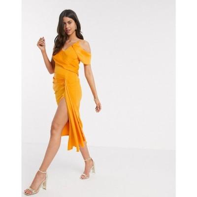 エイソス ASOS DESIGN レディース ワンピース ペンシル キャミワンピ Asos Design Drape Detail Cami Pencil Midi Dress In Orange オレンジ