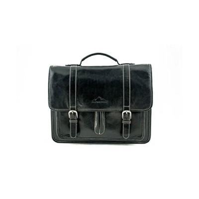 "Messenger Bag ""OHIO"" | Made Of Buffalo Leather | Men Women Ladies Vintage 15 Inch Laptop Business Classic Black | By Alpenleder 並行輸入品"