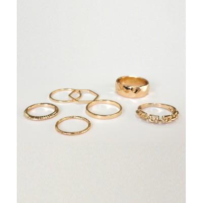 【melange メランジェ】チェーンモチーフとワイドリング入り7本セットリング 指輪(リング)