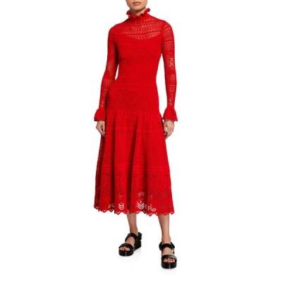 アレキサンダー・マックイーン レディース ワンピース トップス High-Neck Long-Sleeve Crochet Lace Dress