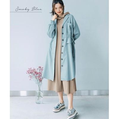 大きいサイズ ウエストスピンドルロングシルエットコート ,スマイルランド, コート, plus size coat
