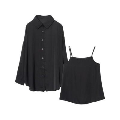 リエディ Re:EDIT [星玲奈さん着用][2点SET]ヴィンテージサテンシャツ×キャミソールアンサンブル (ブラック)