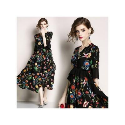 パーティードレス ミモザ丈 フローラル  ブラック 花柄 ゴージャス 結婚式 二次会 お呼ばれドレス kh-0044