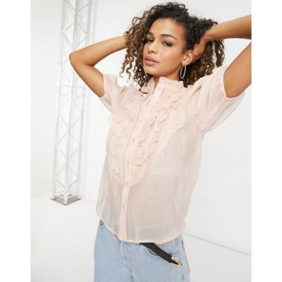 パリジャン レディース シャツ トップス Parisian ruffle front blouse in beige