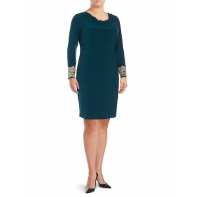 マリーナ レディース ワンピース Lace-Embroidered Cowlneck Dress