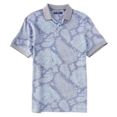 クレミュ メンズ ポロシャツ トップス Paisley Print Oxford Pique Short-Sleeve Polo Shirt Peacoat Blue