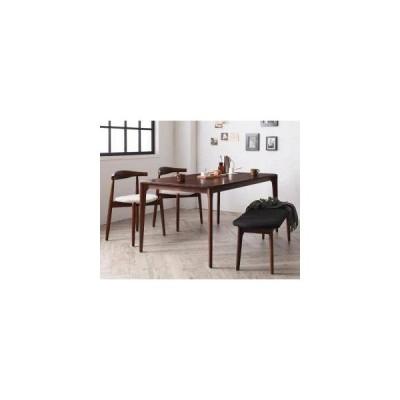 ダイニングテーブルセット 4人用 椅子 ベンチ おしゃれ 北欧 4点 ( 机+スタッキングチェア2+長椅子1 ) 幅150 デザイナーズ スタイリッシュ ウォールナット 無垢