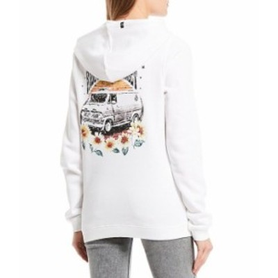 ボルコム レディース パーカー・スウェット アウター Volcation Sunflower Graphic Fleece Pullover Hoodie Star White