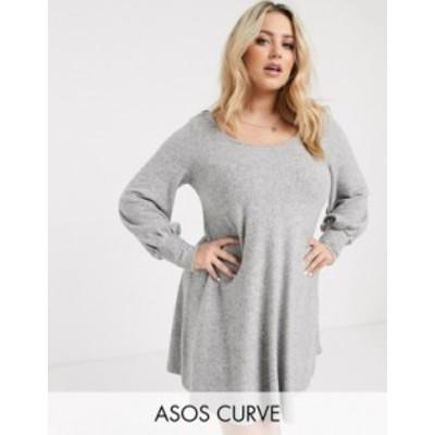 エイソス レディース ワンピース トップス ASOS DESIGN Curve super soft mini smock dress in gray Gray marl