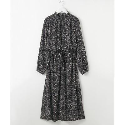 フリルネック総柄ロングワンピース (ワンピース)Dress