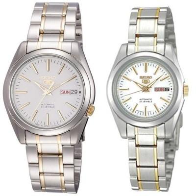 40代 50代におすすめ特典付き 即納 セイコー ペアウォッチ SEIKO 5 自動巻き シルバー×ゴールド SNKL47J1SYMK19J1 腕時計