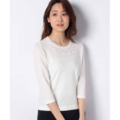 MADAM JOCONDE/マダムジョコンダ 花柄ビーズ刺繍 ニットプルオーバー ホワイト 40