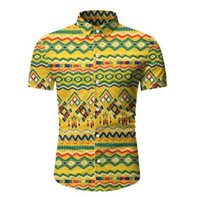 ハワイのメンズシャツ夏エスニックスタイルの印刷半袖シャツメンズカジュアルスリムフィットビーチブラウストップスカミーサ