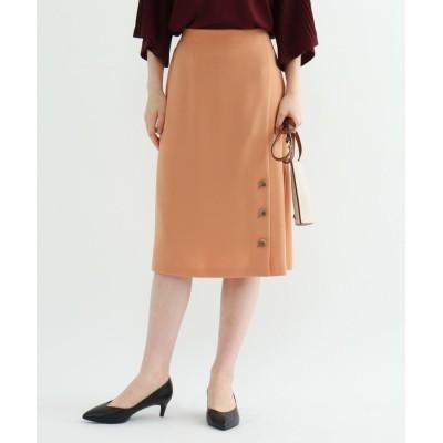 INDIVI(インディヴィ) ◆【マシンウォッシュ】サテンクロス フロントボタンスカート