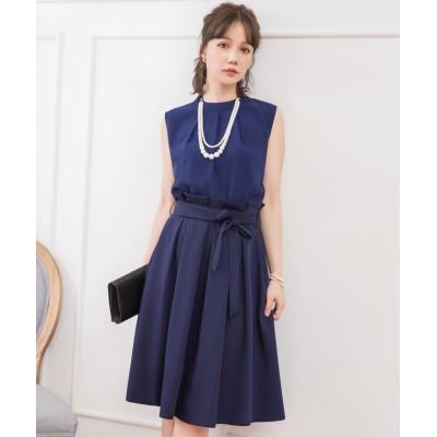 【ドレス スター】 プチハイネックタックブラウス×ウエストリボンAラインスカート レディース ネイビー XLサイズ DRESS STAR
