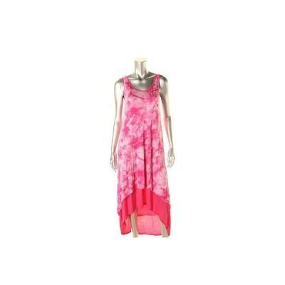 ドレス ワンピース Kensie Kensie 0432 レディース ピンク ノースリーブ Tie Dye ハイ Low Maxi ドレス Juniors S BHFO