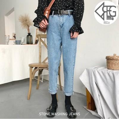 【REGIT】ヴィンテージライク加工 デニム 韓国ファッション 10代 20代 ジーンズ かわいい おしゃれ ボトムス パンツ 着回し プチプラ ジーンズ