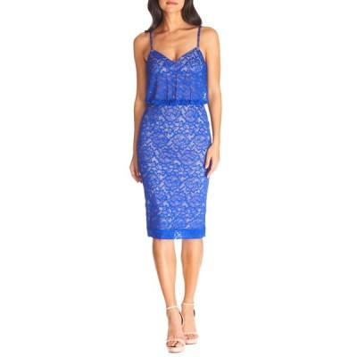 ドレスザポプレーション ワンピース トップス レディース Alisha Lace Blouson Cocktail Dress Electric Blue