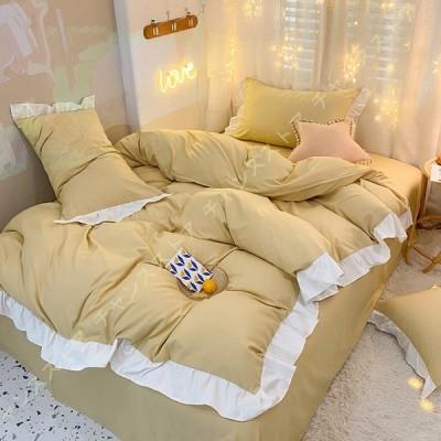 寝具カバーセット ベッドカバー 3点 4点セット フリル付き 無地 純色 布団カバー 厚手 柔らか 快眠 快適 高密度 枕カバー ピローケース 敷/掛カバー