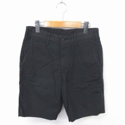 【中古】シップスジェットブルー SHIPS JET BLUE パンツ ハーフ ショート ドット ジップフライ 綿 S 黒 ブラック