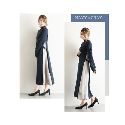 【la-gemme】サイドプリーツ切替カットソーワンピース (ワンピース)Dress