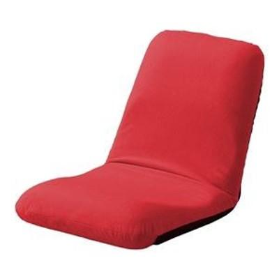 ds-2323902 背筋ピン 座椅子/パーソナルチェア 【Mサイズ レッド 起毛生地】 約幅43cm スチールパイプ リクライニング 日本製【代引不可
