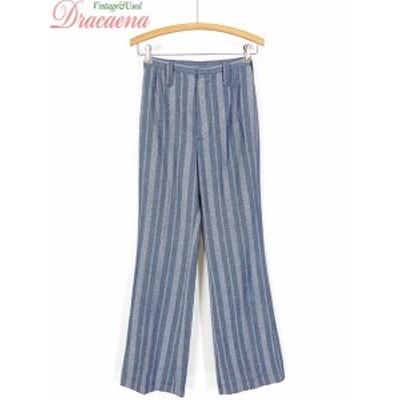 古着屋 レディース パンツ USA製 ストライプ シンプル ブルー ホワイト フレア パンツ 古着