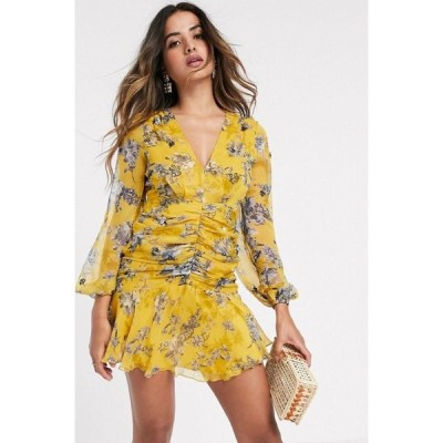 エイソス ASOS DESIGN レディース ワンピース ミニ丈 long sleeve cluster embellished mini dress in mustard floral マスタードフローラル