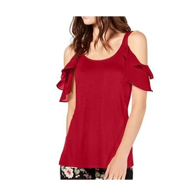 INC Womens Ruffle Cold Shoulder Blouse Red XXL並行輸入品 送料無料