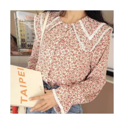 VANHECER レディース ブラウス Flower Pattern Big Color Blouse T#YW497