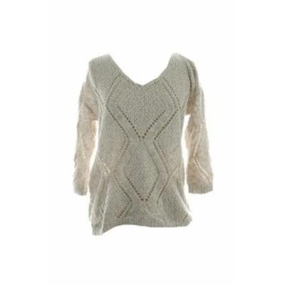 ファッション トップス Inc International Concepts New Beige Open-Knit Sweater S