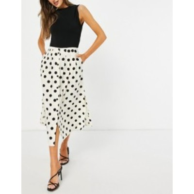 エイソス レディース スカート ボトムス ASOS DESIGN button through midi skirt with deep pocket detail in cream & black dot print M