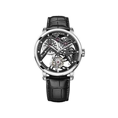 Agelocer Men's Watch Luxury Brand Flying tourbillon Skeleton Mechanical Sta