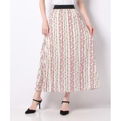 【アクシーズファム】 花ストライプスカート レディース ホワイト M axes femme