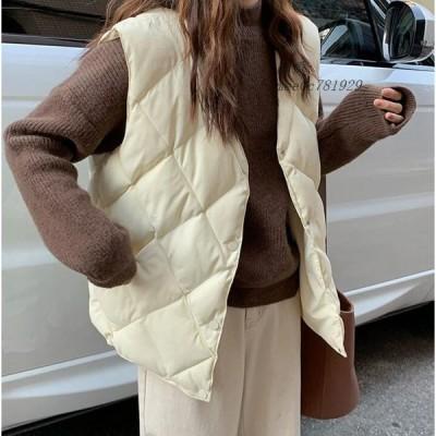 中綿ベスト レディース アウター 前開き 中綿 あったか 羽織 ジャケット 冬 綿入れ トップス